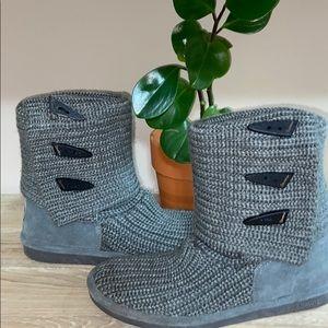 BearPaw Knit Tall Foldover Boots, Gray, Sz 9